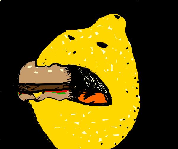 Lemon eats a burger