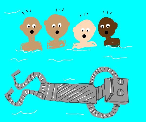 people surprised at floating robot