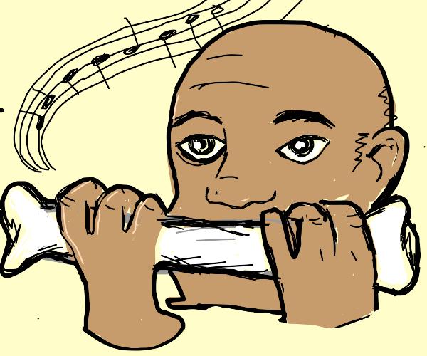 man using a bone as a harmonica
