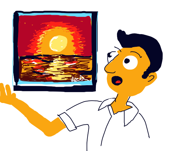 person is amazed at sunset painting