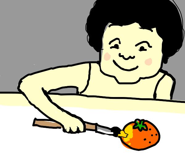 guy happily paints an orange
