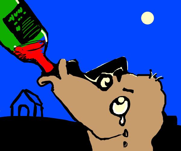 Dog drinking his sorrows away