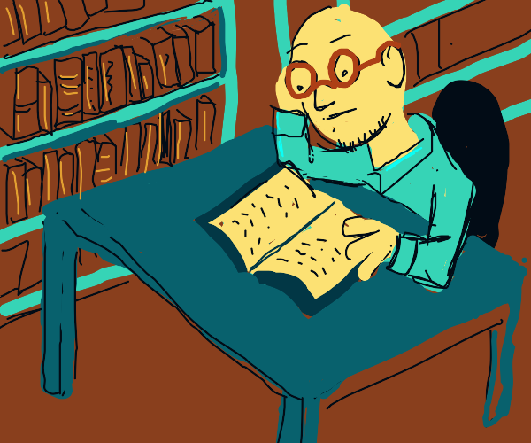 bald man with glasses reads book in library