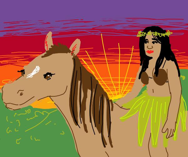 Hawaiian princess riding beautiful horse
