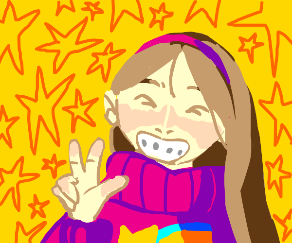 Mabel from Gravity Falls gives peace sign