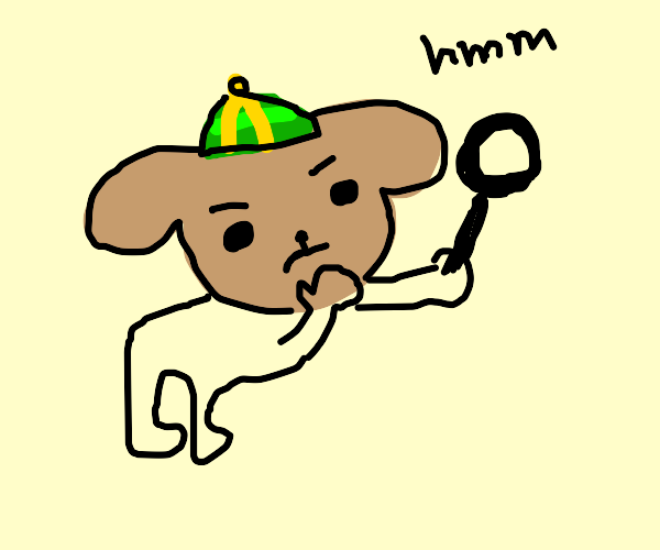 dog searching with a magnifying glass