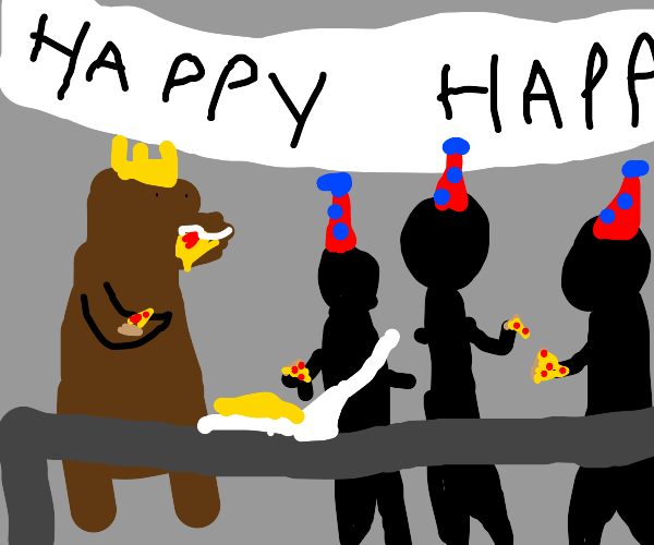 Best birthday party involving bear and pizza