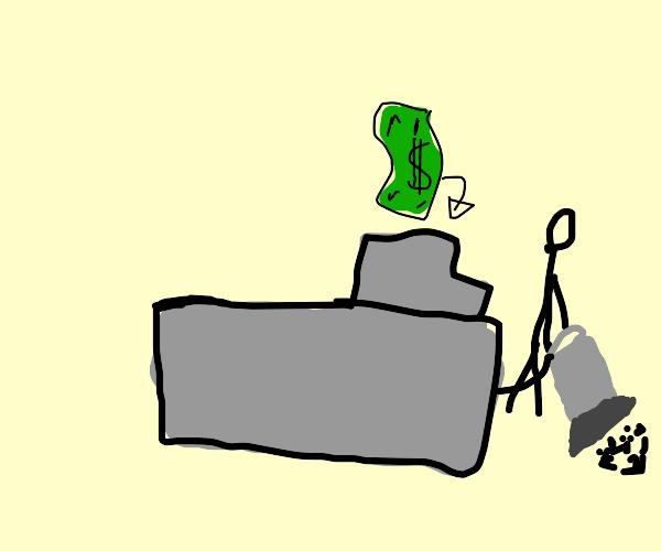 Cashier Vacuuming
