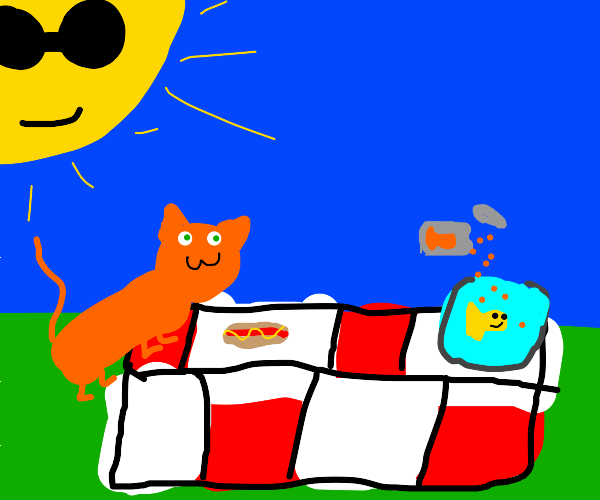 cat having a picnic with a fish