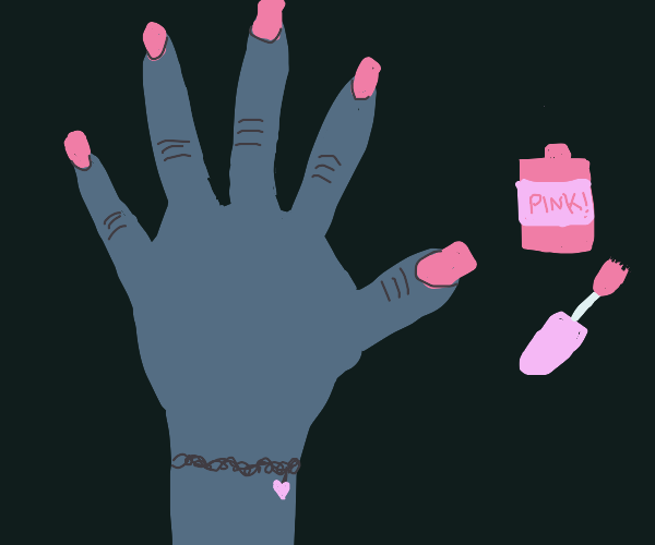 Girl paints her nails pink