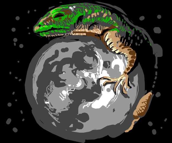 Giant lizard on the moon