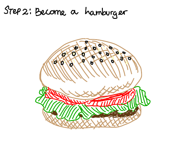 step 1: eat a hamburger