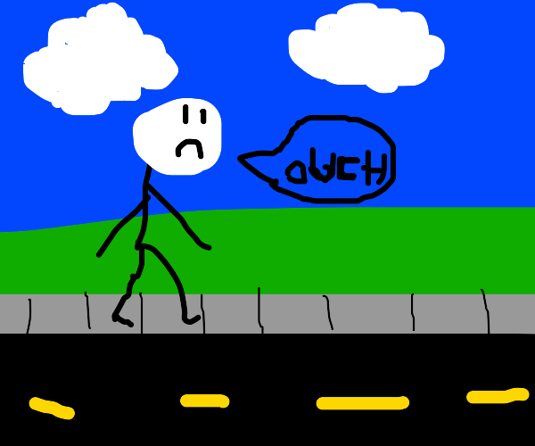 man walking and saying ouch