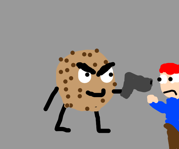 evil cookie with a gun