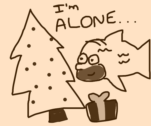 Homer simpson fish creature alone christmas