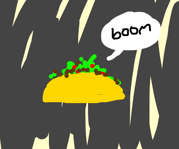 """BFB Taco is inverted and is saying """"boom"""""""