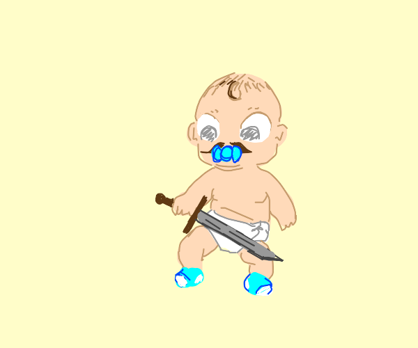 baby with mustache found sword