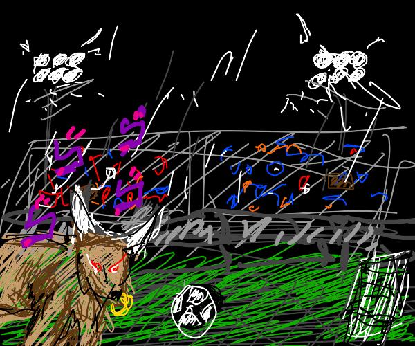 Bull plays soccer