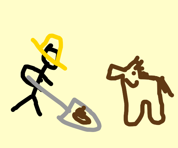 Farmer scoops horse poop