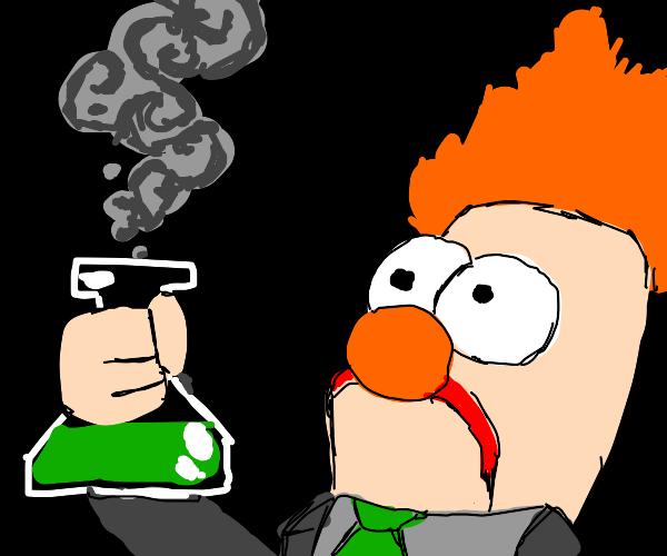 Beeker (Muppets) holding a beaker (science)