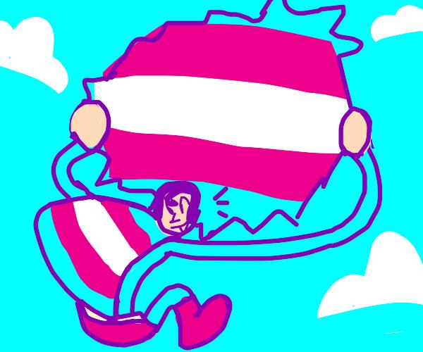 trans superman tears sky to reveal trans flag