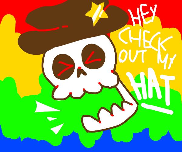 skullwuth a cowboy hat