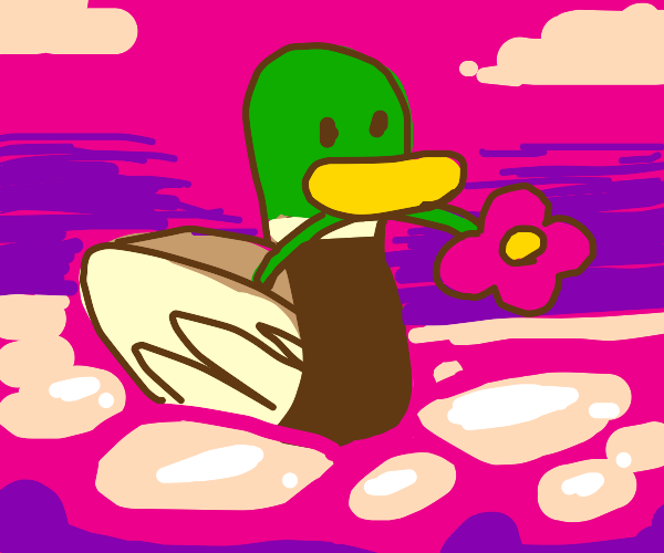 Duck with a flower in its mouth