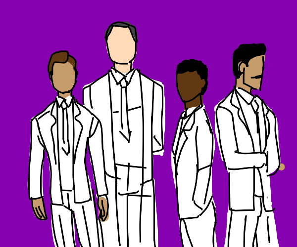 four men in white suits