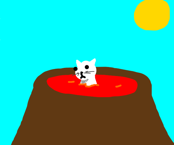 cat bathing in lava in a volcanoe