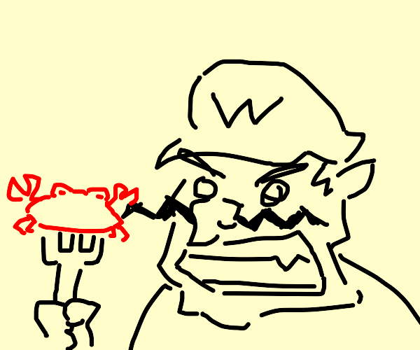 wario threatens to eat a crab