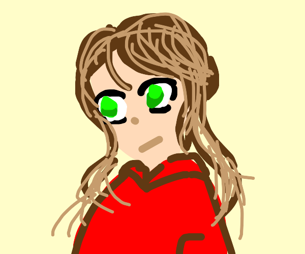 Brown Hair Green Eyes Red Jumper Girl Drawception