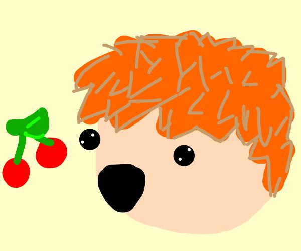 spiky orang hair guy likes cherries