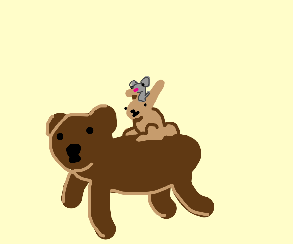 Mouse on a rabbit on a bear
