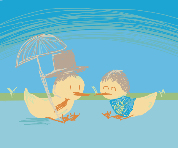 two happy ducks dressed as people