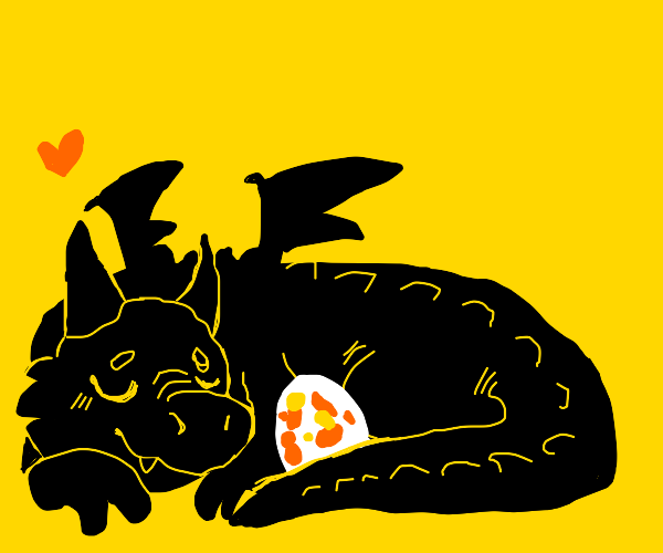 Cute little dragon with an egg