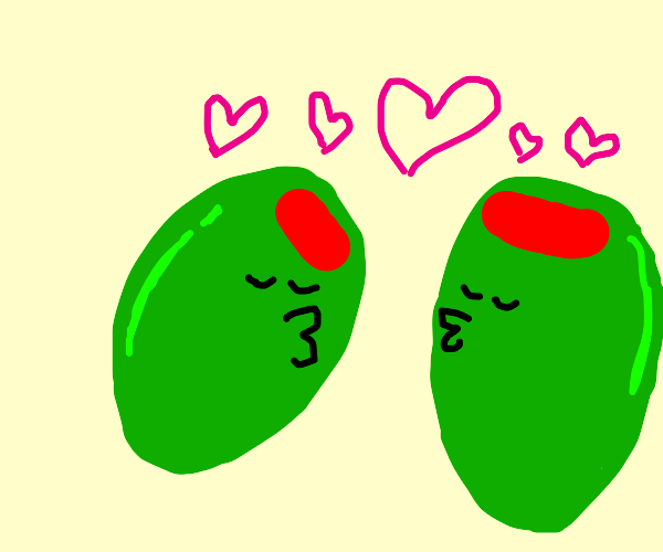 Two green olives in love