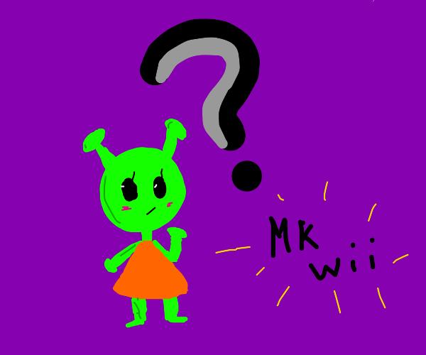 Alien is confused by Mario Kart Wii