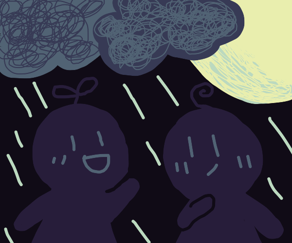 2 people waiting in the rain at night