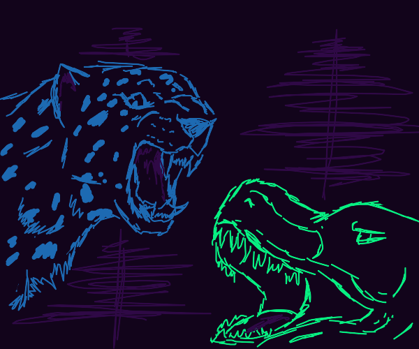 Jaguar Vs Dinosaur in the Jungle