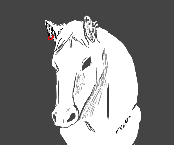 a horse with a red earring