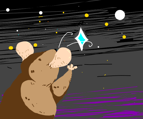 A mouse reaching out for a star in space.
