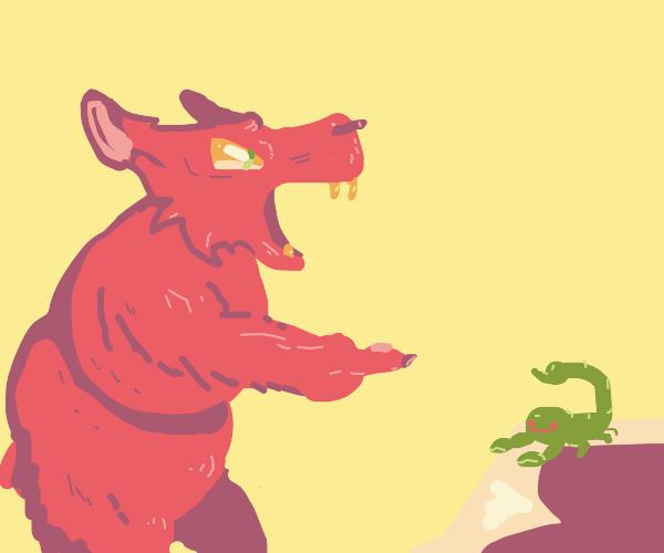 pink bear threatens blue scorpion