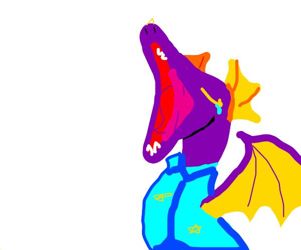 sleepy dragon yawns with pjs on