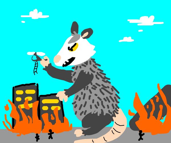 oppossum godzilla attacks the city