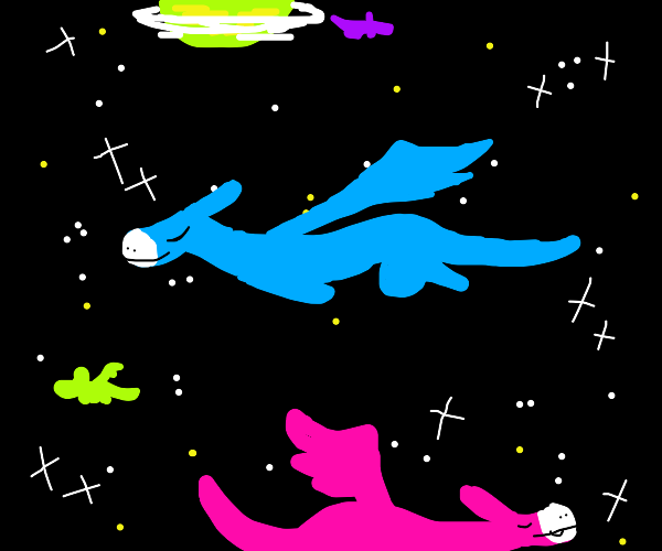 Dragons flying in outer space
