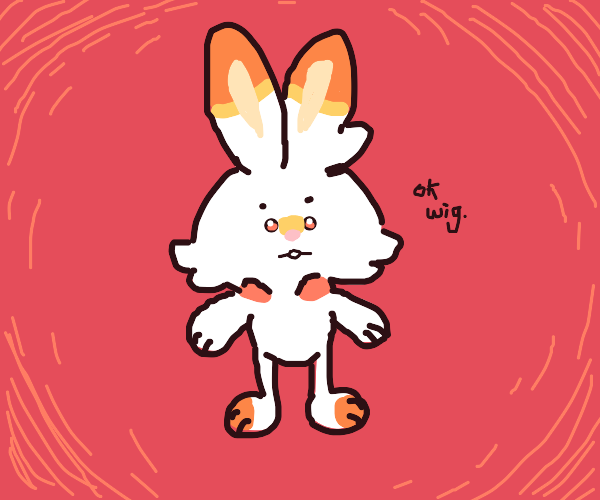 "Scorbunny saying ""ok wig."""
