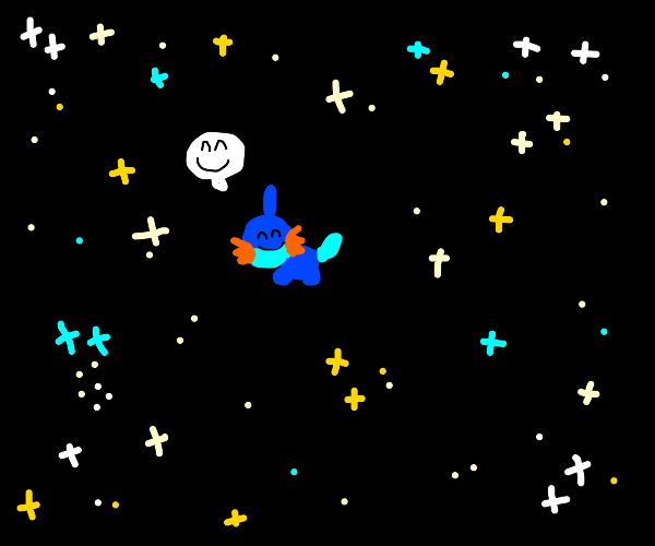 happy mudkip in space