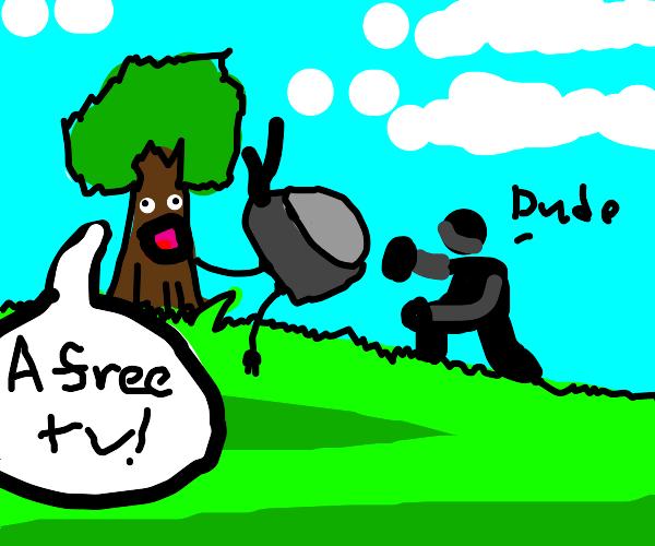 a tree giving a dude a tv