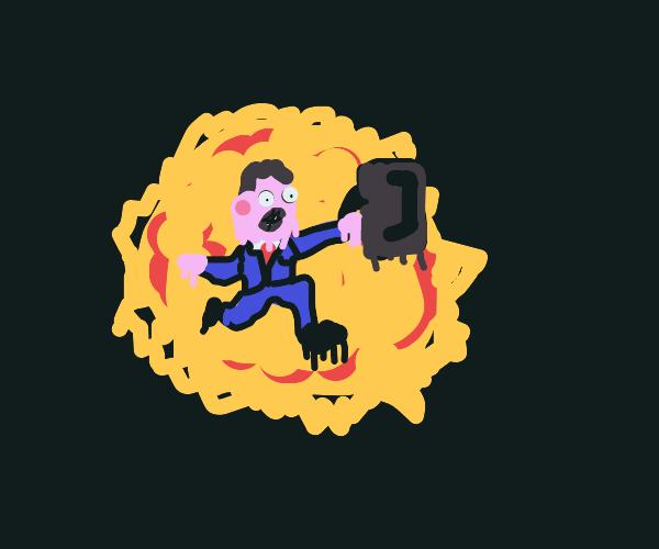Blue businessman melts in sun