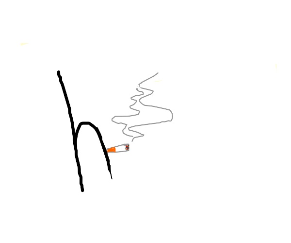 A lowercase H Smoking a cigarette